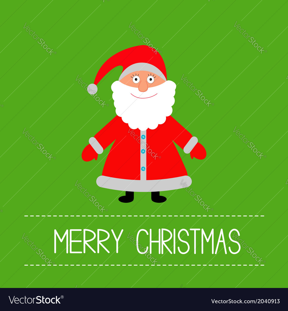 Cute santa claus green background merry christmas vector | Price: 1 Credit (USD $1)