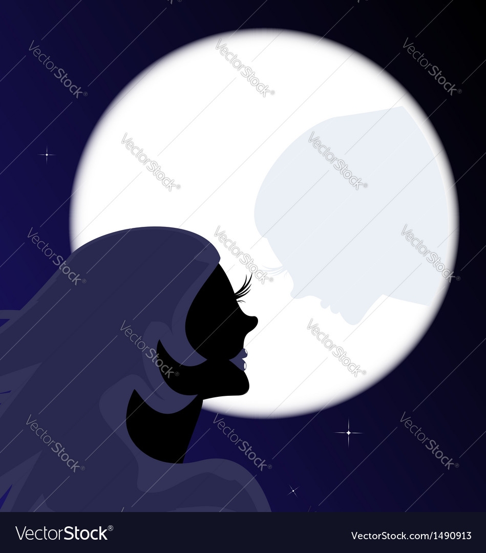 Girl and moon vector | Price: 1 Credit (USD $1)