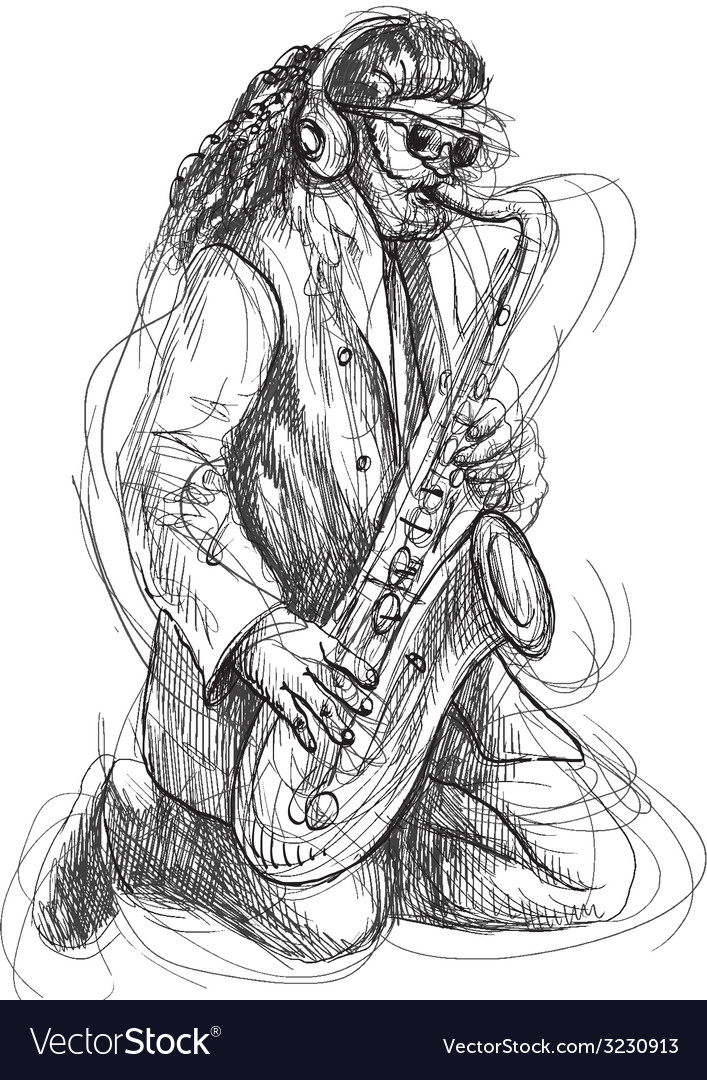 Musician - sax player vector | Price: 1 Credit (USD $1)