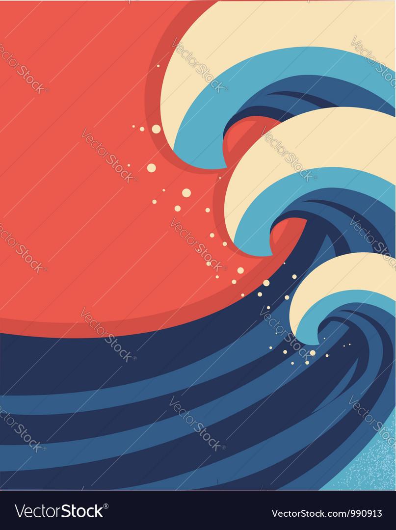 Sea waves poster of sea landscape vector | Price: 1 Credit (USD $1)