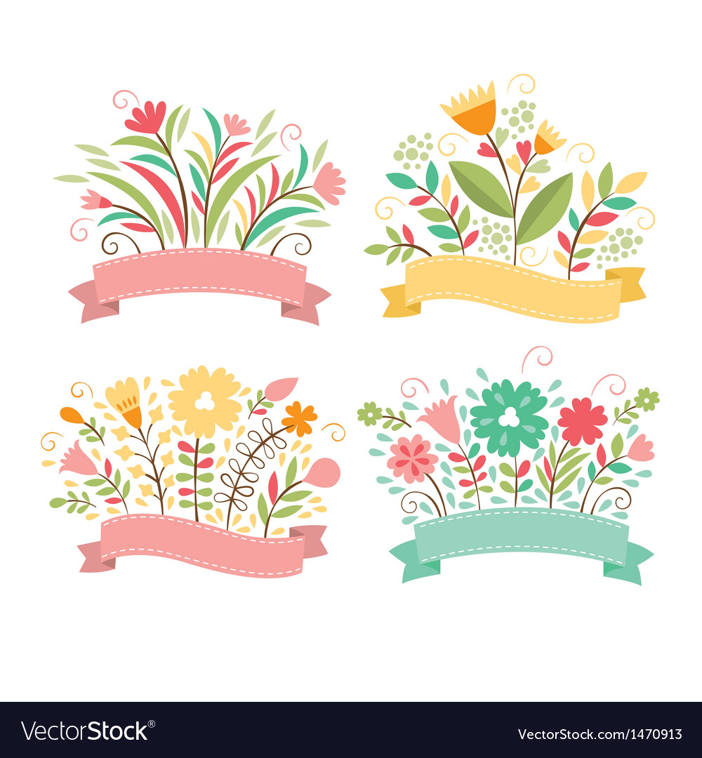 Set of floral bouquets and romantic frames vector | Price: 1 Credit (USD $1)