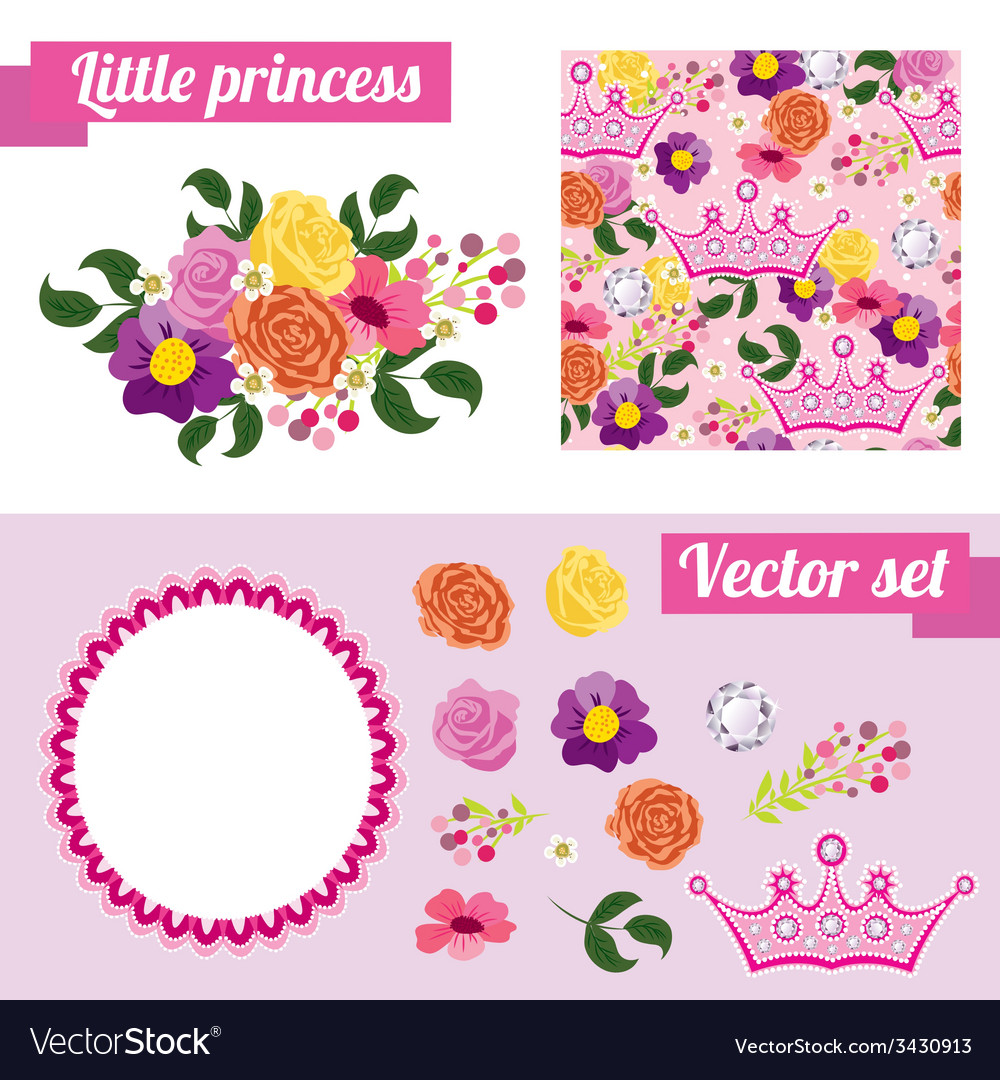 Set of pink floral elements with crown collect vector | Price: 1 Credit (USD $1)