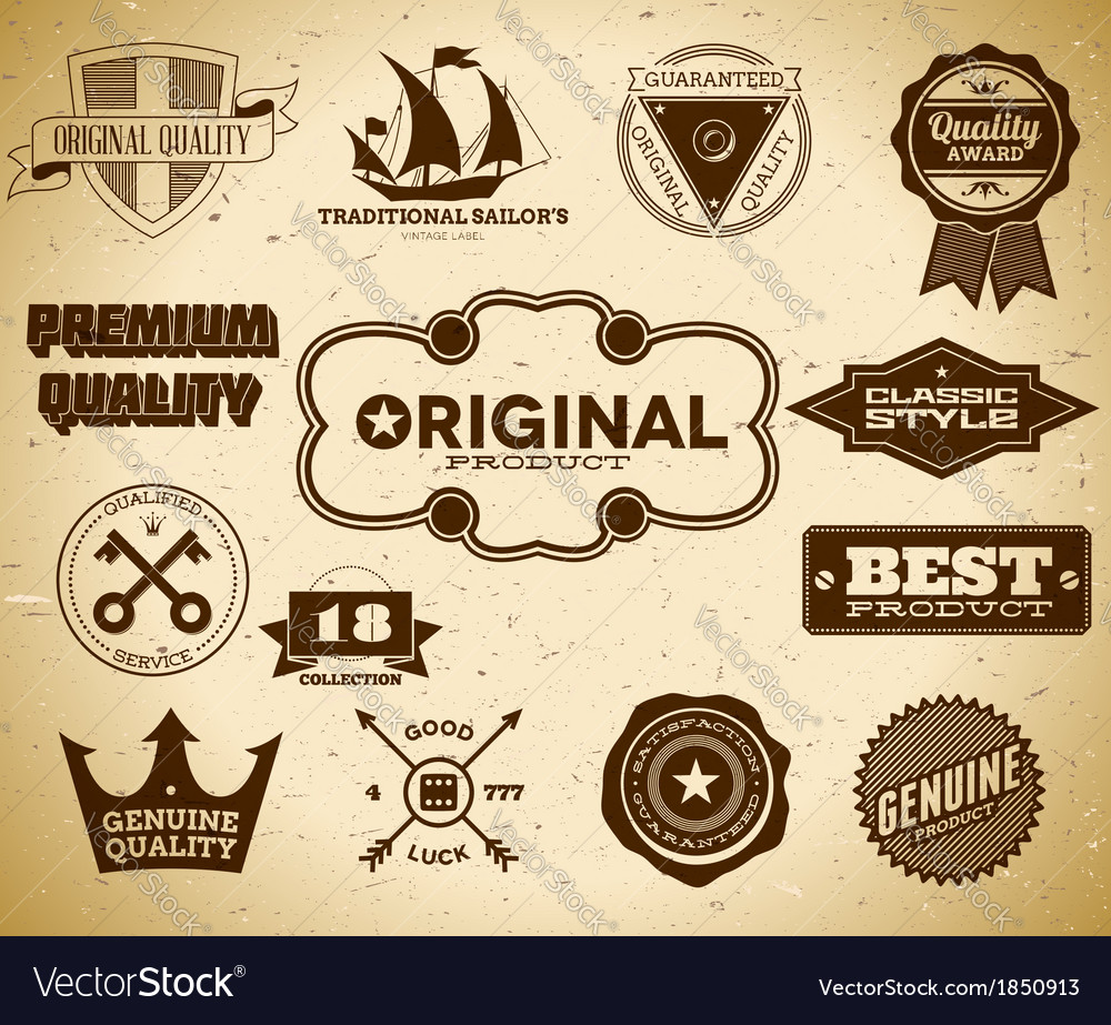 Set of vintage labels on the cardboard collection vector | Price: 1 Credit (USD $1)