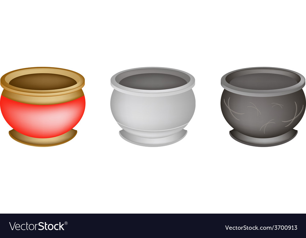 Three chinese incense burner on white background vector | Price: 1 Credit (USD $1)