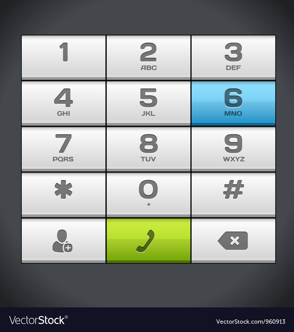 White number phone keypad vector | Price: 1 Credit (USD $1)