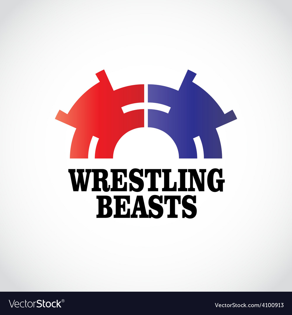 Wrestling logo template two stomping bears vector | Price: 1 Credit (USD $1)