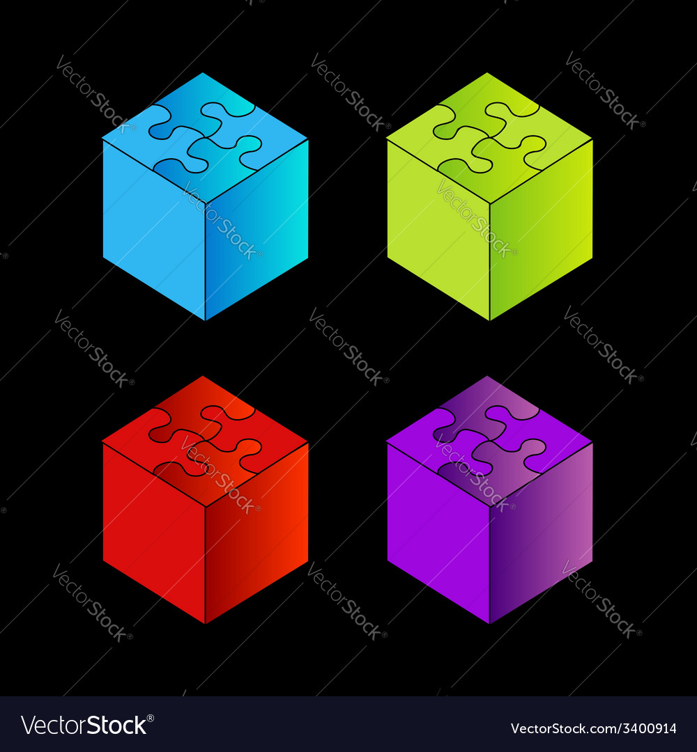 3d boxes with puzzle roof vector | Price: 1 Credit (USD $1)