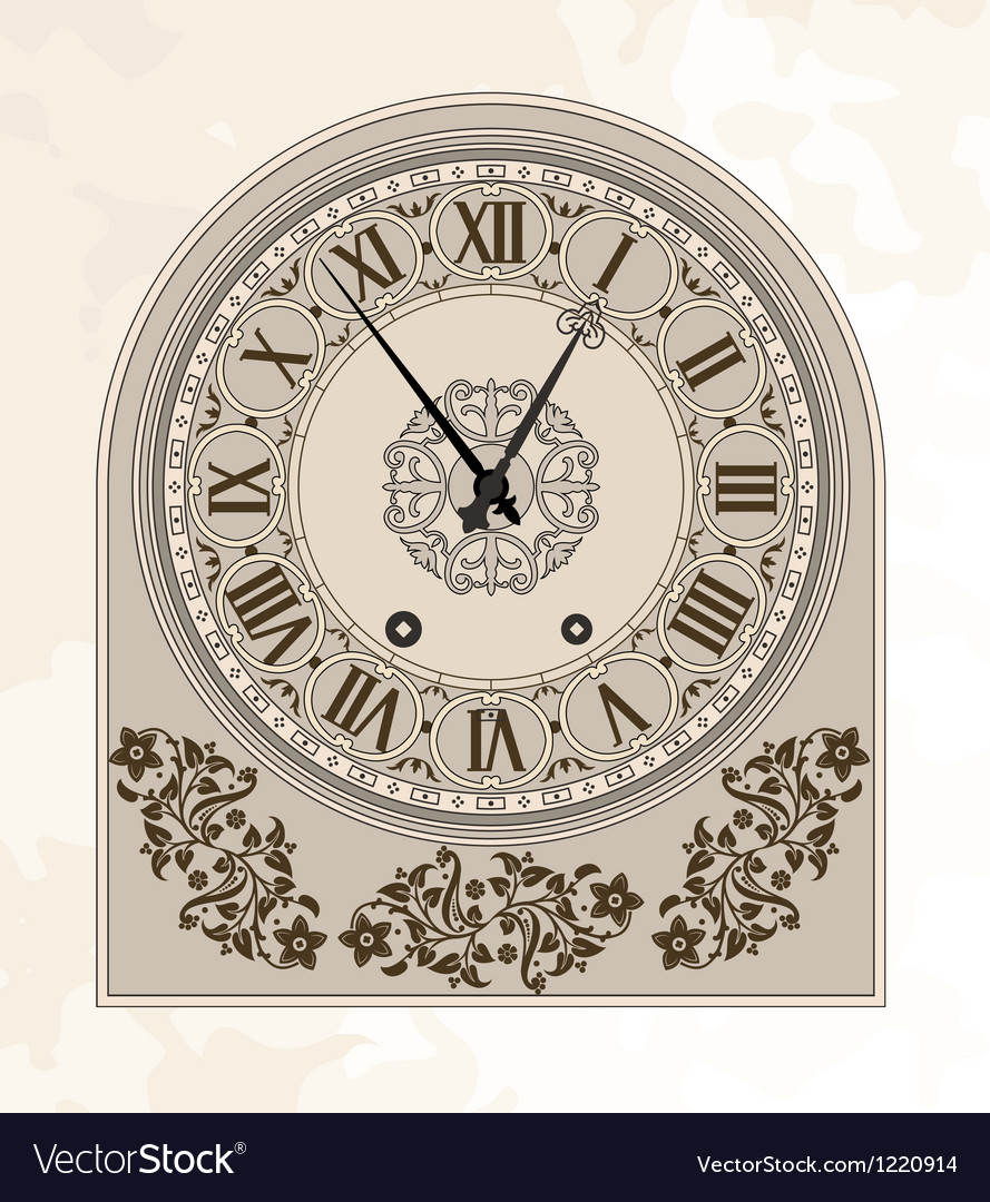 Antique clock vector | Price: 1 Credit (USD $1)