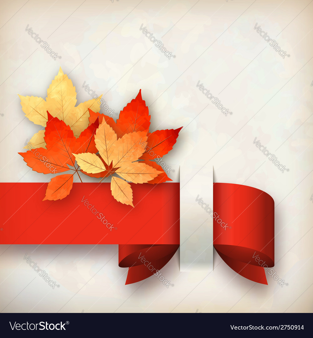 Autumn fall leaves card vector | Price: 1 Credit (USD $1)