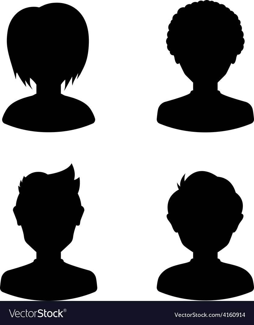 Avatar profile silhouettes of young people man vector | Price: 1 Credit (USD $1)