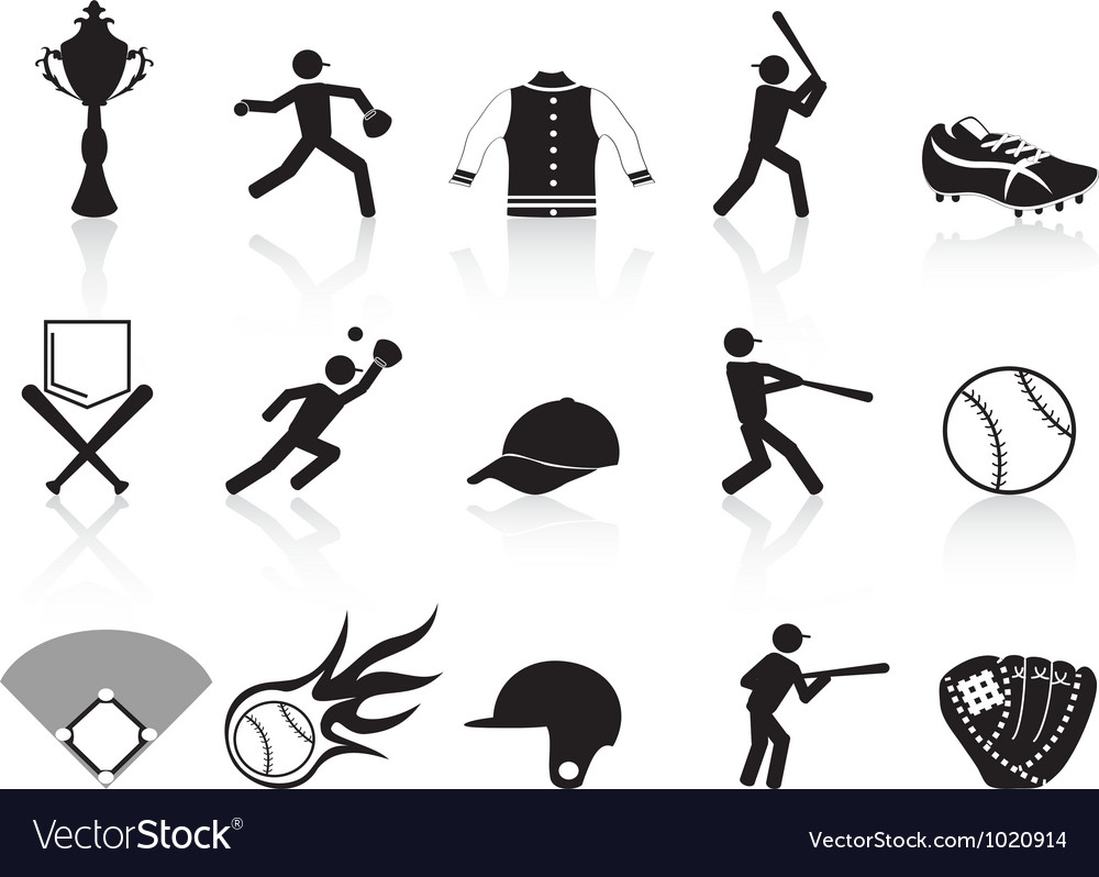 Black baseball icons set vector | Price: 1 Credit (USD $1)