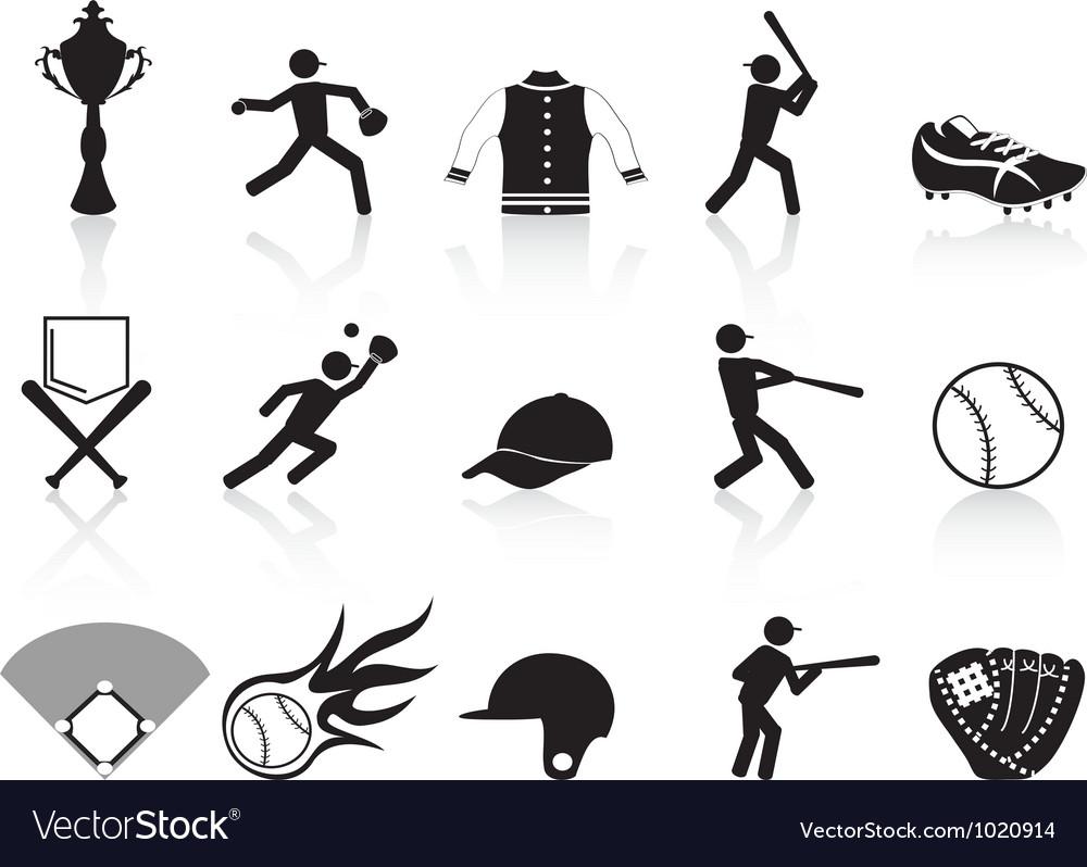 Black baseball icons set vector | Price: 1 Credit (USD $1)