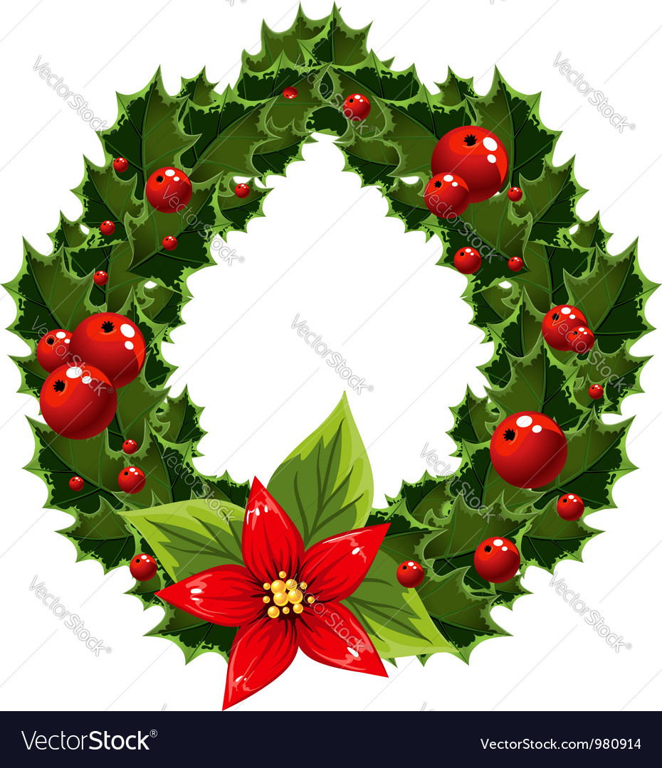 Christmas green and red embellishment with berry vector   Price: 3 Credit (USD $3)
