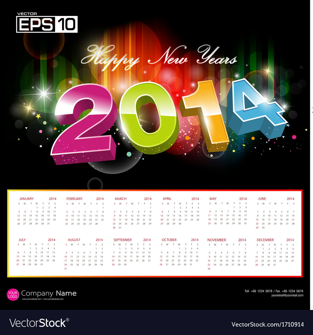 Colorful calendar 2014 vector | Price: 1 Credit (USD $1)