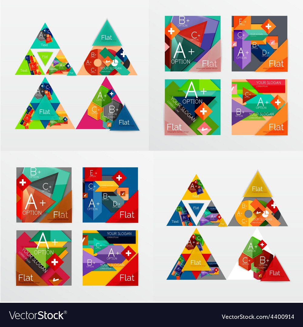 Flat design geometric info banners web boxes vector | Price: 1 Credit (USD $1)
