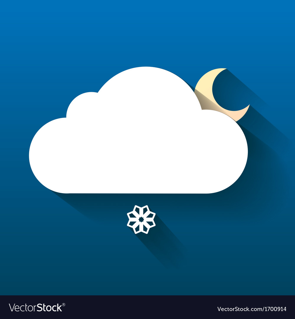 Night cloud moon and snow flake isolated on dark vector | Price: 1 Credit (USD $1)