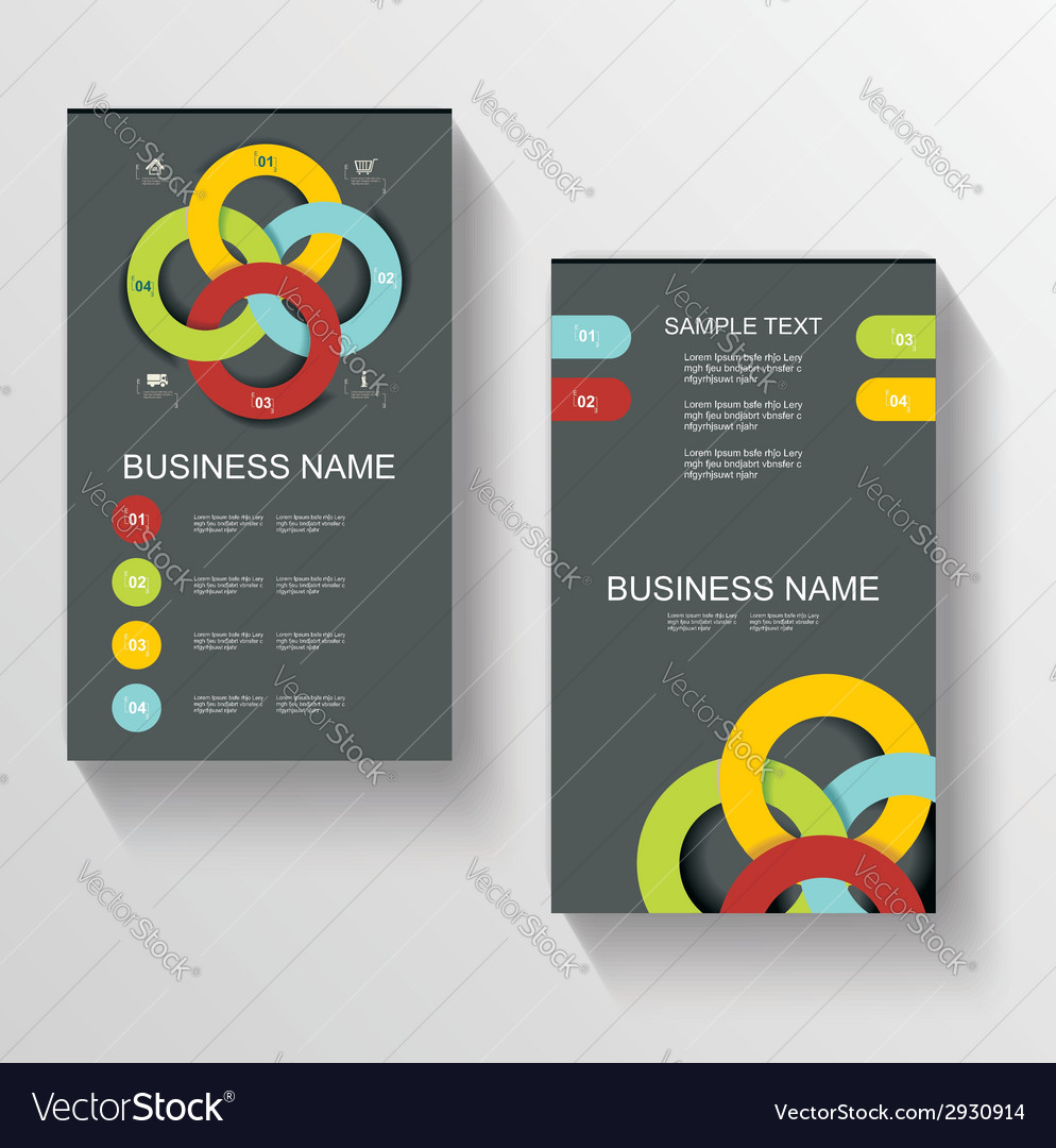 Set of modern global business design banner vector | Price: 1 Credit (USD $1)