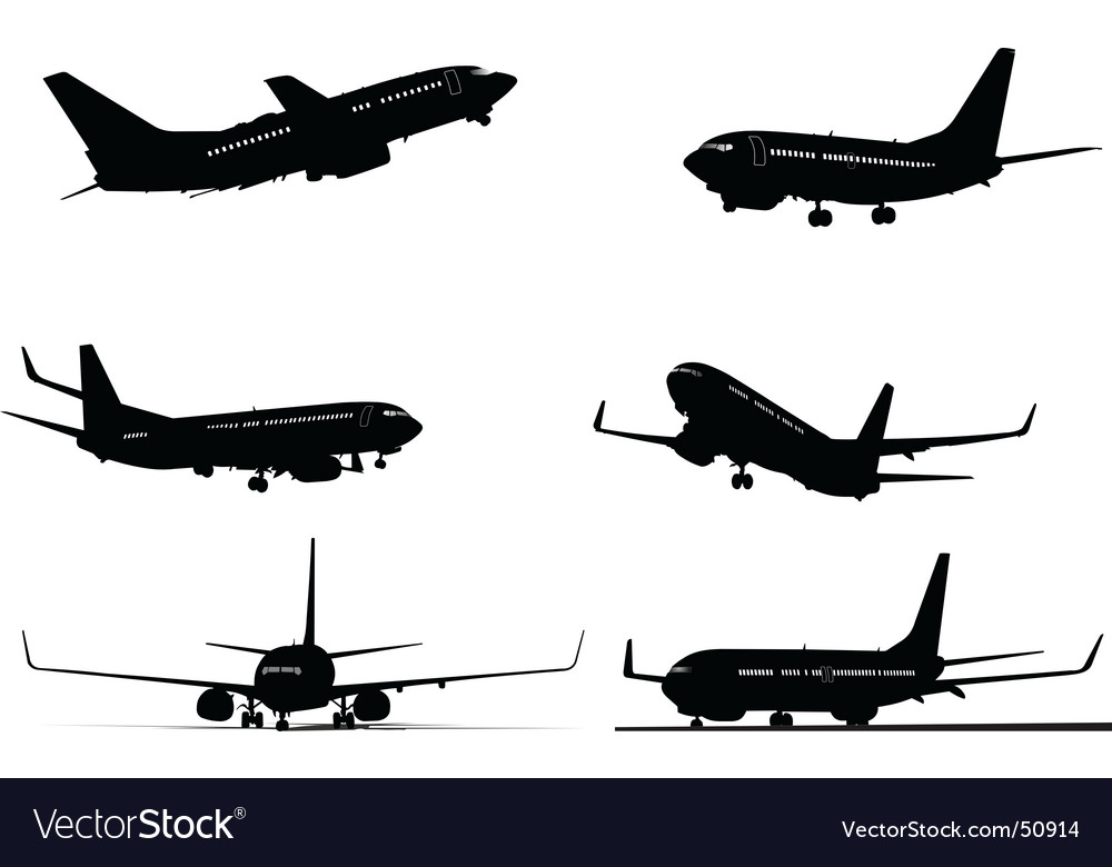 Six plane silhouettes vector | Price: 1 Credit (USD $1)