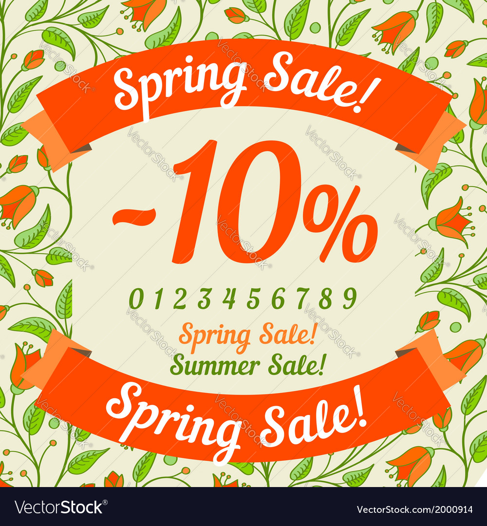 Spring sale design vector | Price: 1 Credit (USD $1)