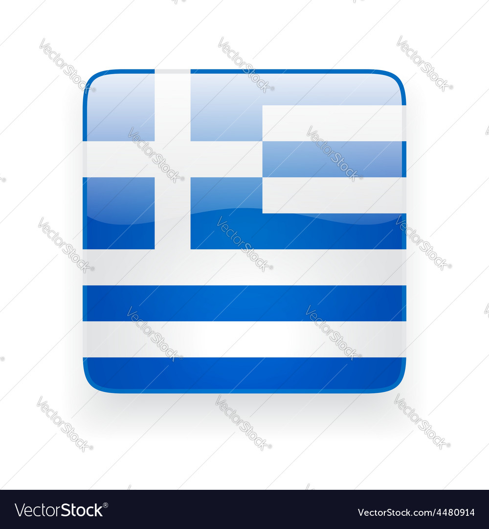 Square icon with flag of greece vector | Price: 1 Credit (USD $1)