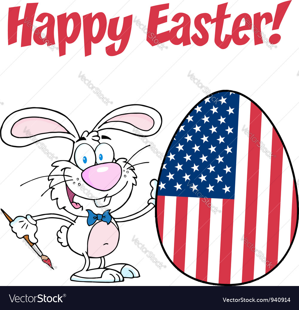 White happy easter bunny painting egg vector | Price: 3 Credit (USD $3)