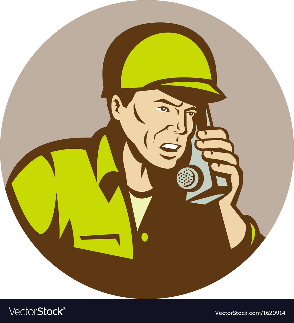 World war two american soldier talking on radio vector | Price: 1 Credit (USD $1)