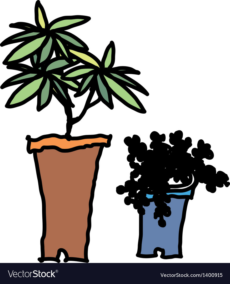 A pair of flower pots vector