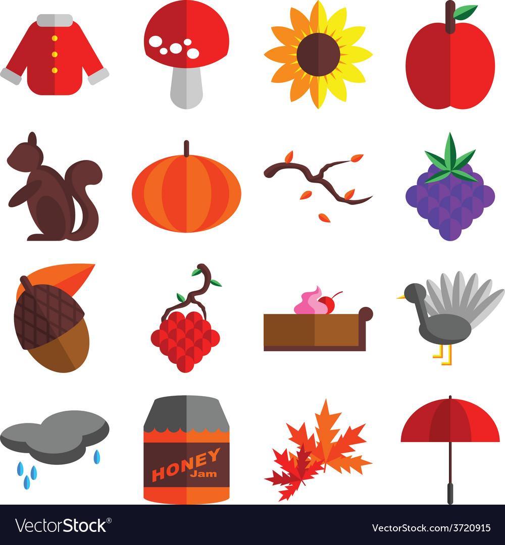 Autumn season icons set vector | Price: 1 Credit (USD $1)