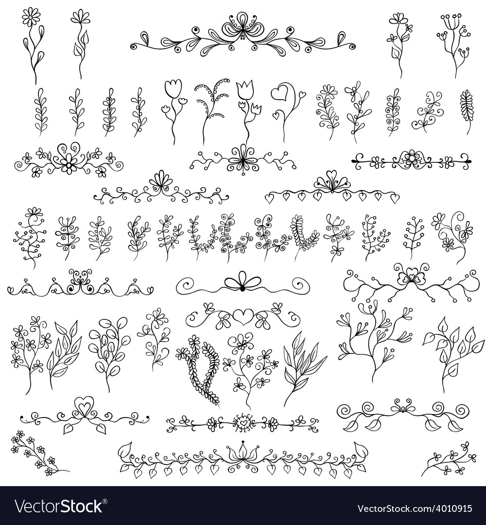 Doodles design elements flower decoration for vector | Price: 1 Credit (USD $1)
