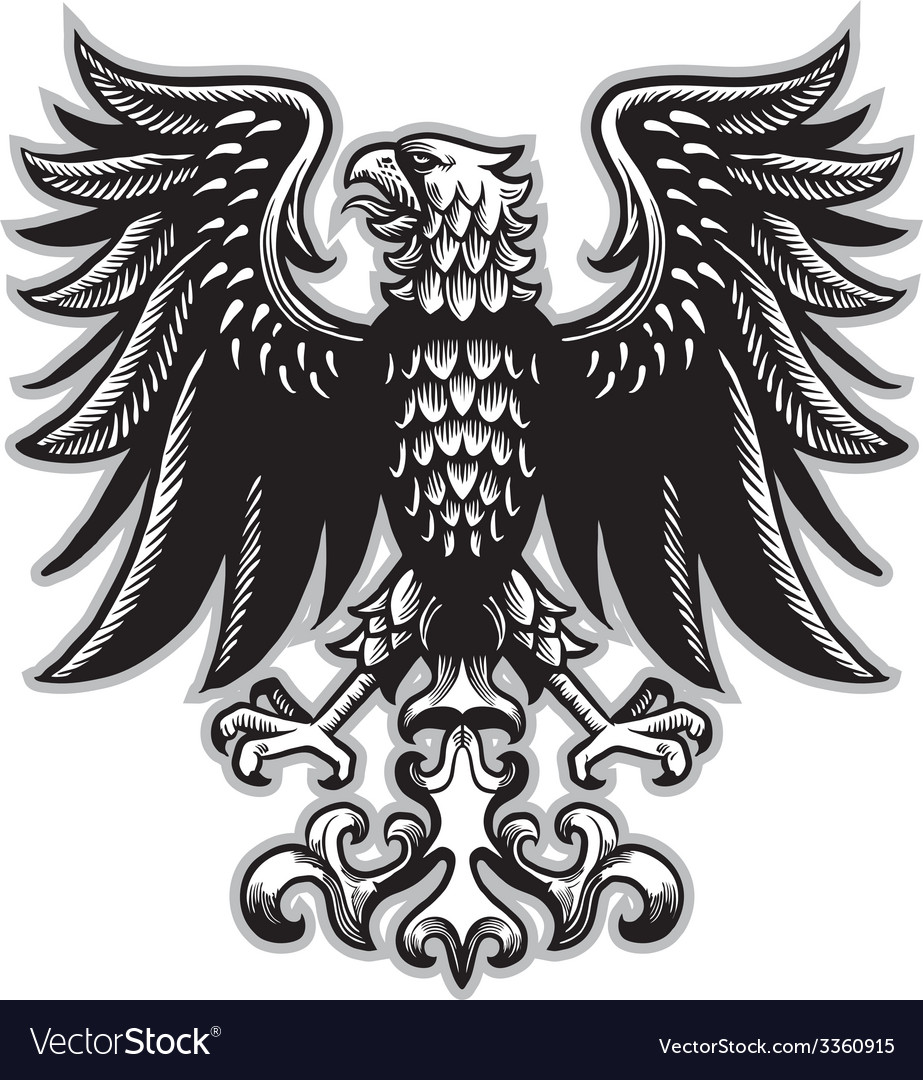 Eagle heraldry in classic pen style vector | Price: 3 Credit (USD $3)