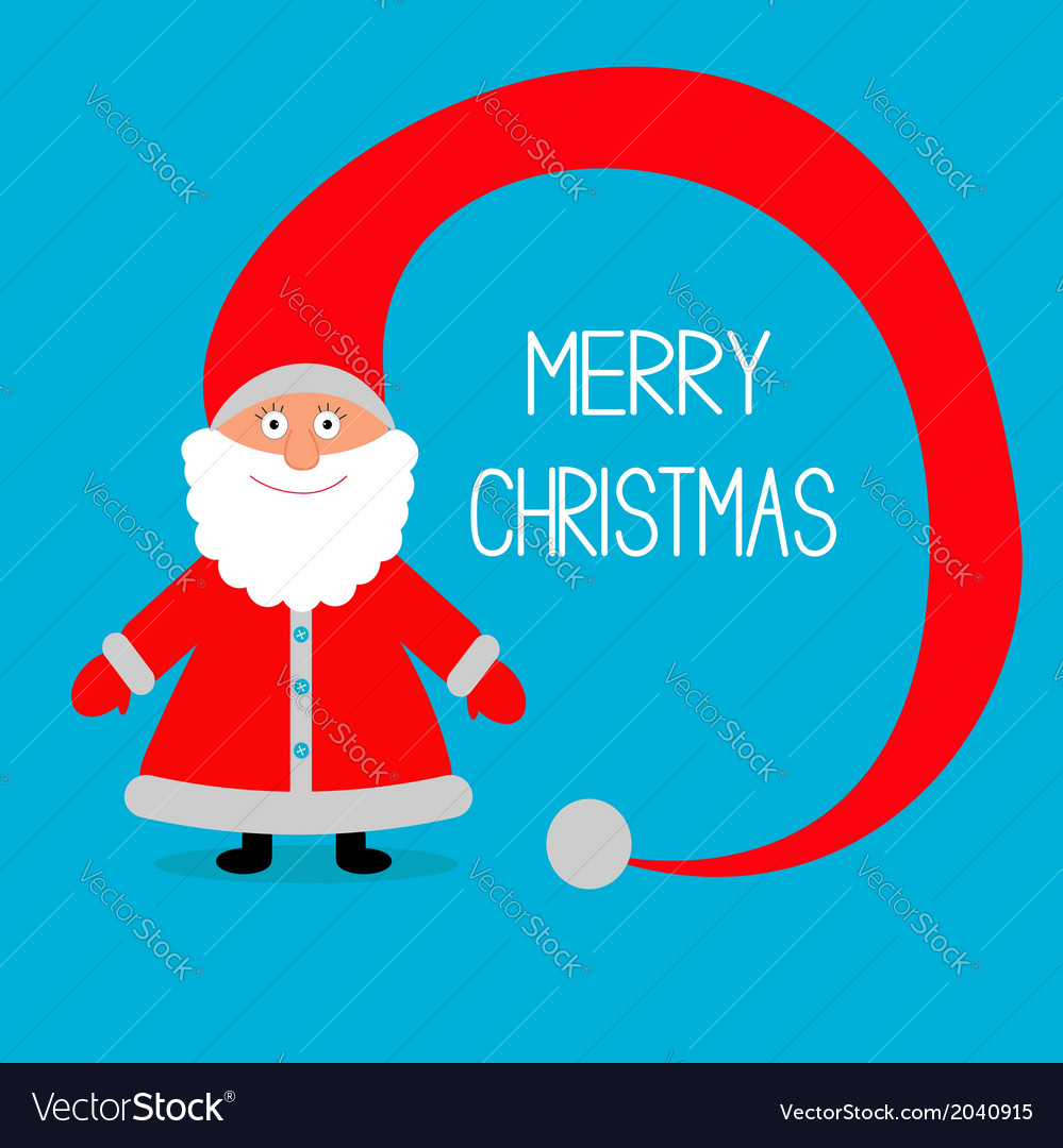 Face of santa claus big hat merry christmas card vector | Price: 1 Credit (USD $1)