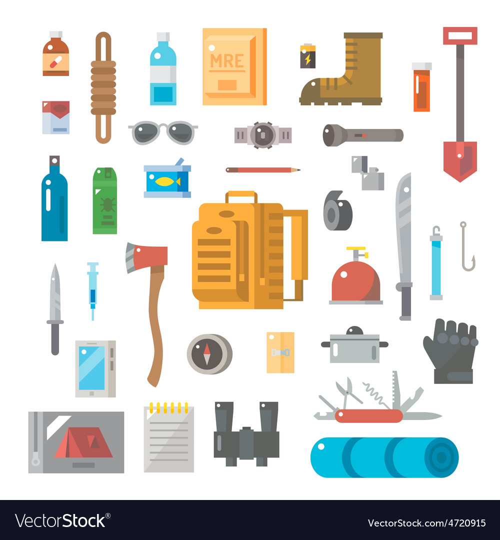 Flat design of suvival kit set vector | Price: 1 Credit (USD $1)