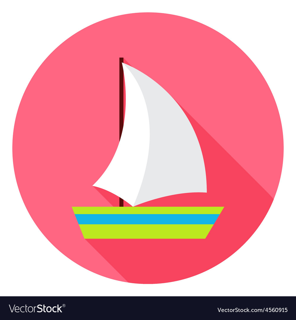 Flat sea ship circle icon with long shadow vector | Price: 1 Credit (USD $1)