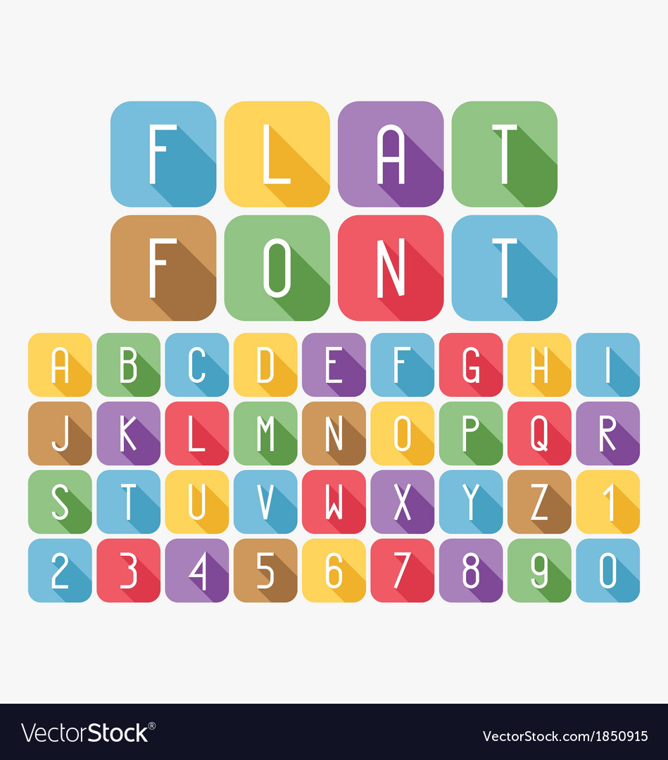Modern colorful flat font set vector | Price: 1 Credit (USD $1)