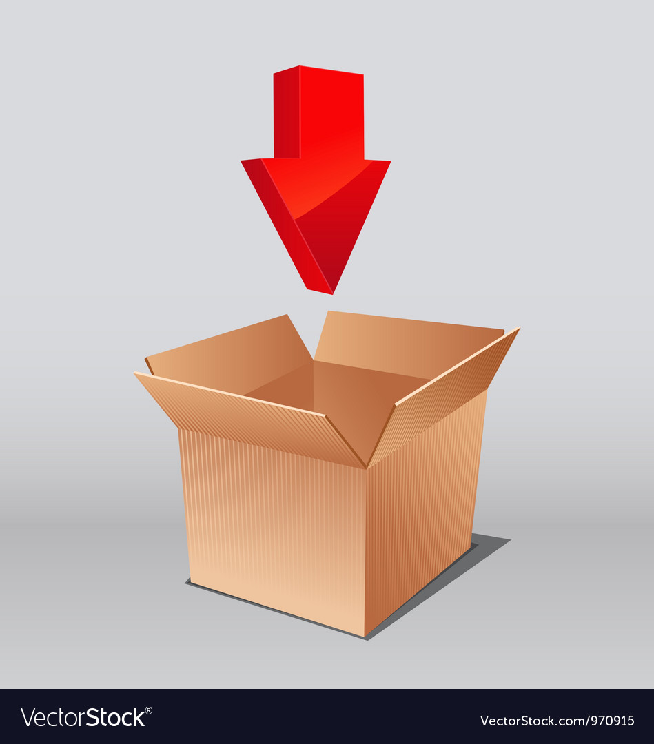 Open box for download with arrows vector | Price: 3 Credit (USD $3)
