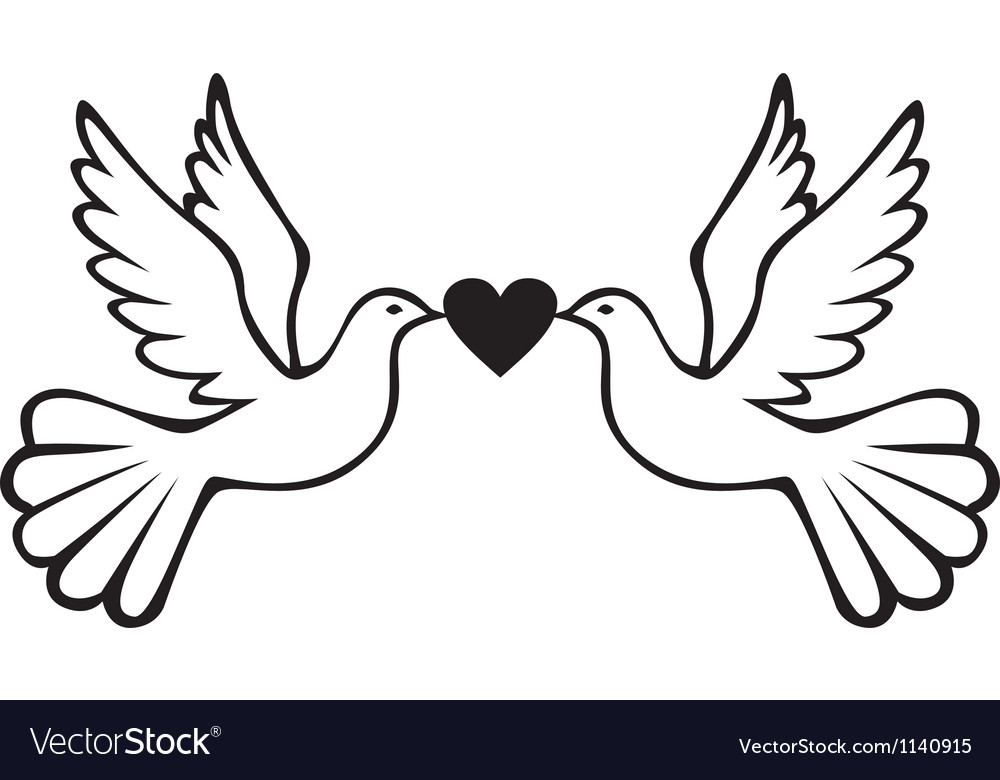 Pair of doves with heart vector | Price: 1 Credit (USD $1)