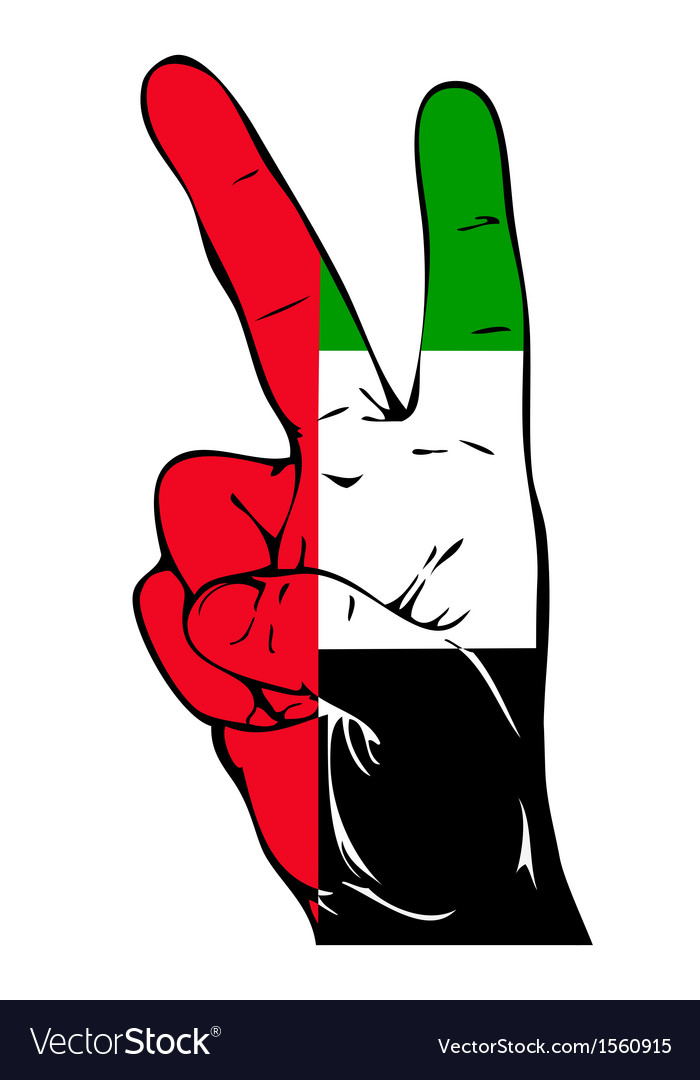 Peace sign of the uae flag vector | Price: 1 Credit (USD $1)