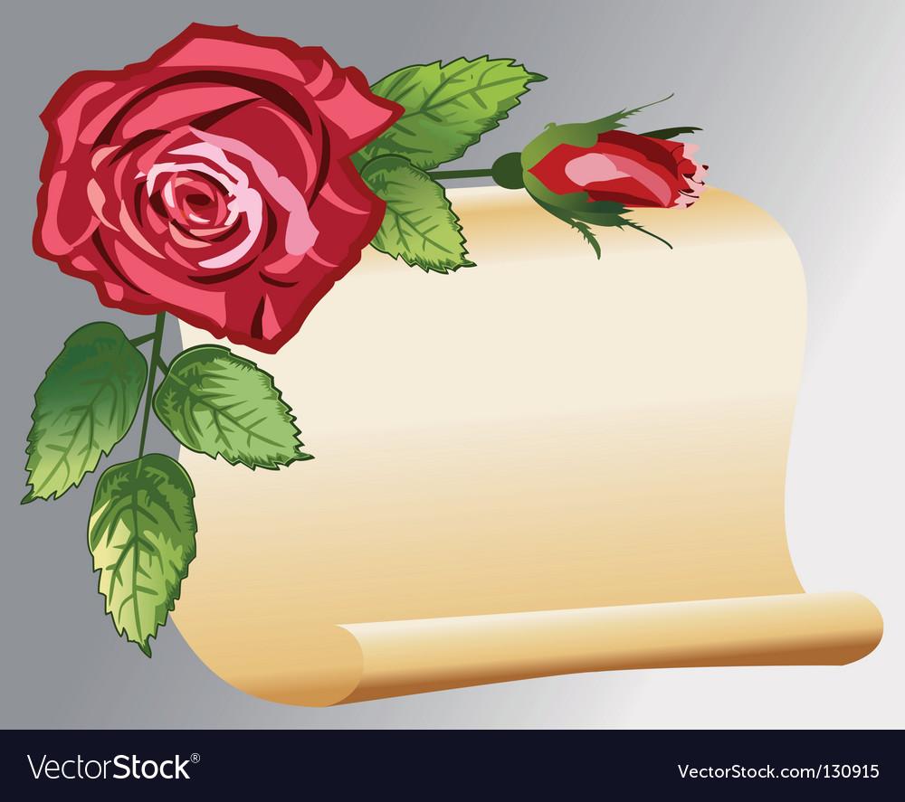 Retro roses banner vector | Price: 1 Credit (USD $1)