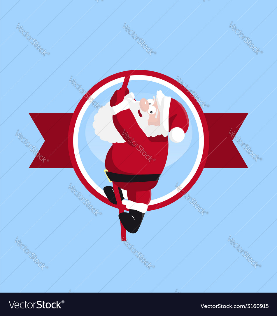 Santa climbing in the round logo vector | Price: 1 Credit (USD $1)