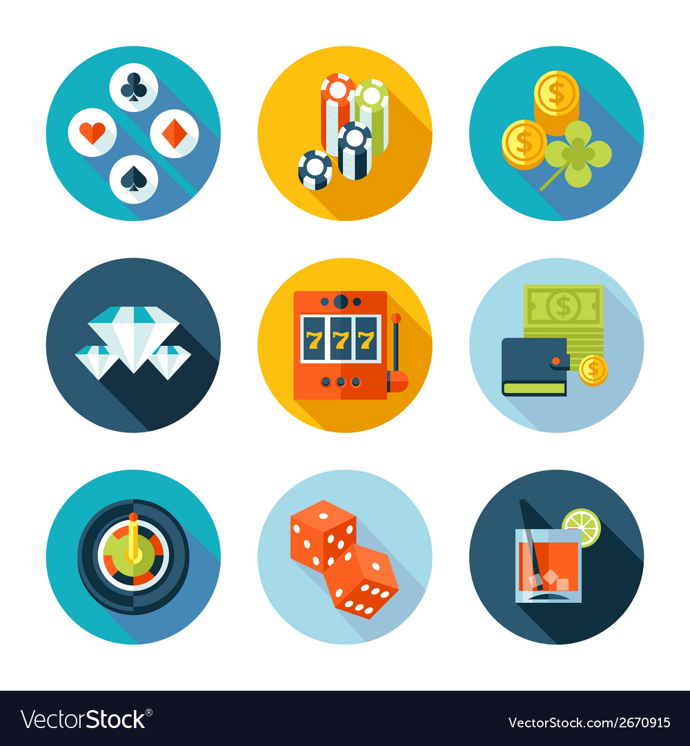 Set of flat casino icons vector | Price: 1 Credit (USD $1)