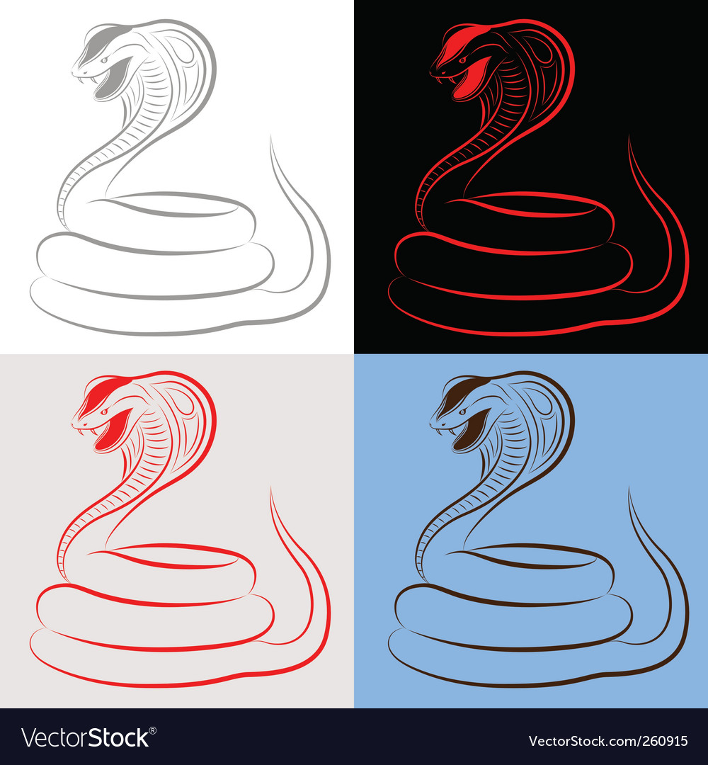 Snake cobra set vector | Price: 1 Credit (USD $1)