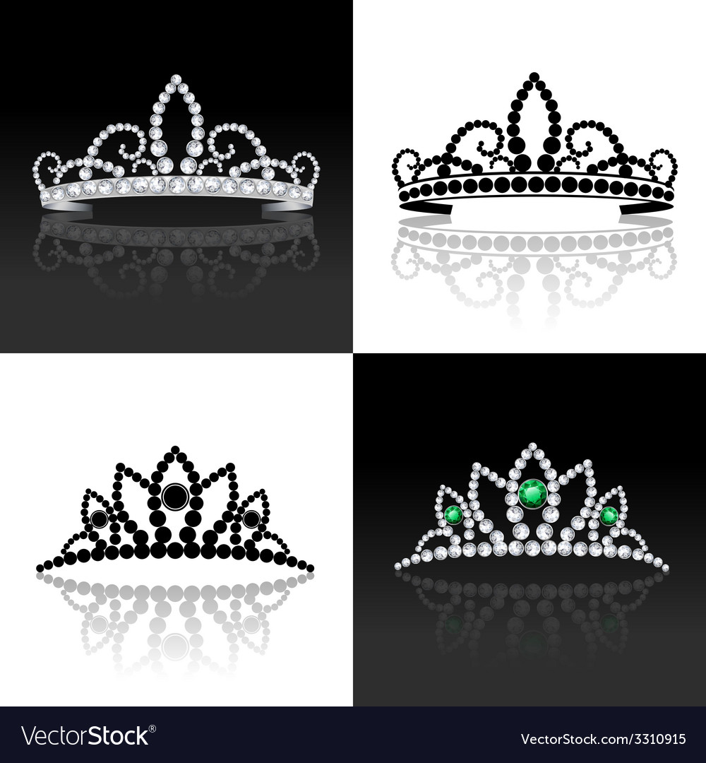 Tiara set isolated vector
