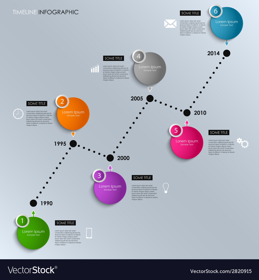 Time line info graphic colored round template vector | Price: 1 Credit (USD $1)