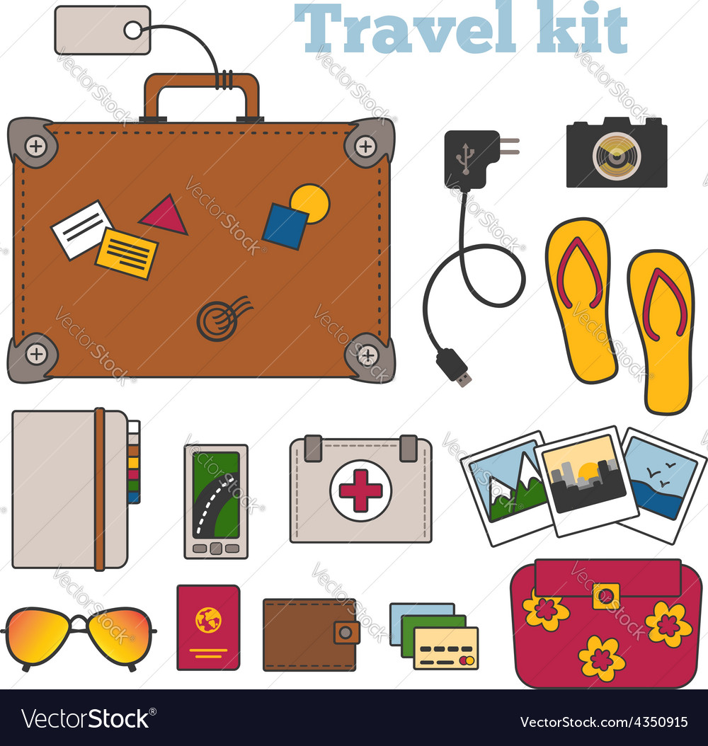 Travel kit with important things vector | Price: 1 Credit (USD $1)