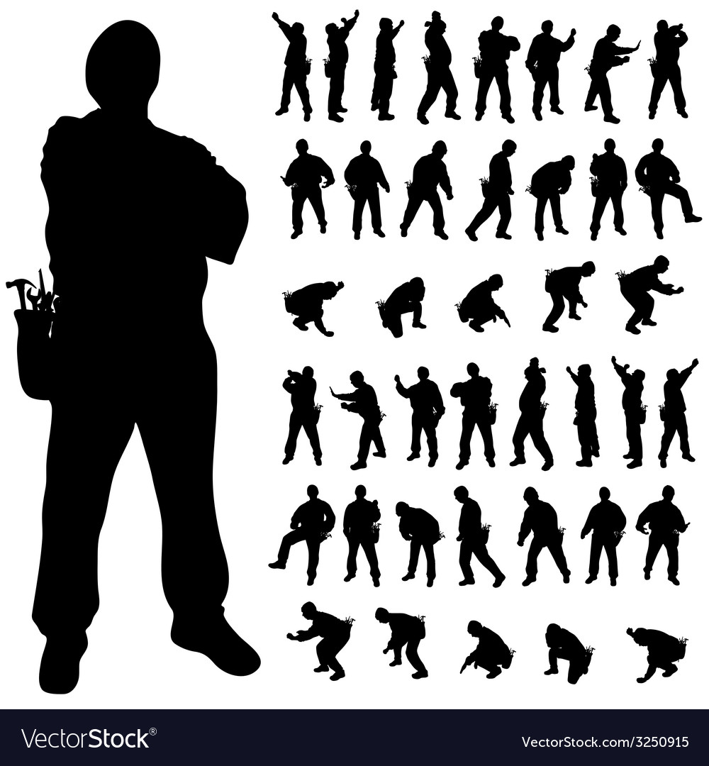 Worker black silhouette in various poses vector | Price: 1 Credit (USD $1)