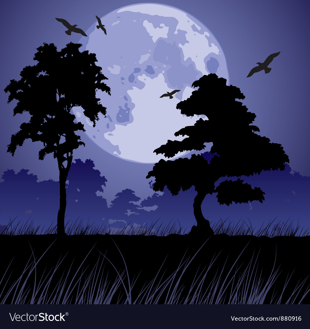 Big blue moon and silhouettes of trees vector | Price: 1 Credit (USD $1)
