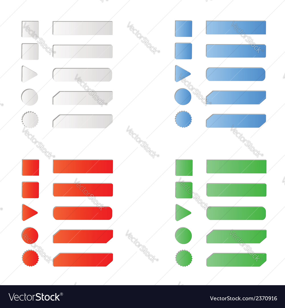 Blank colored internet web button set vector | Price: 1 Credit (USD $1)