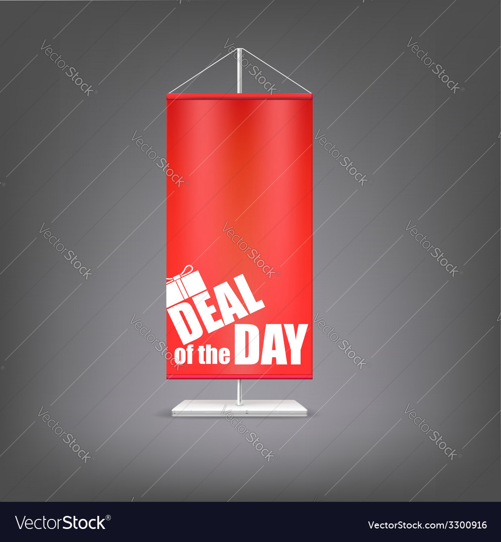 Deal of the day vertical red flag at the pillar vector | Price: 1 Credit (USD $1)