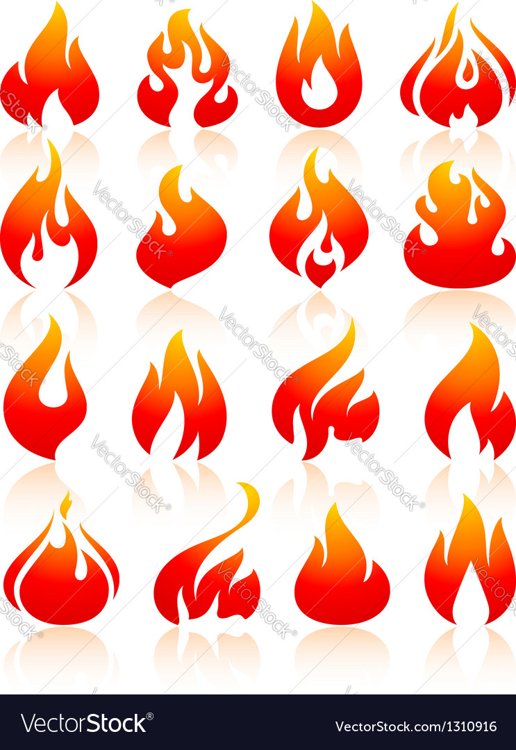 Fire flames red set icons vector | Price: 1 Credit (USD $1)
