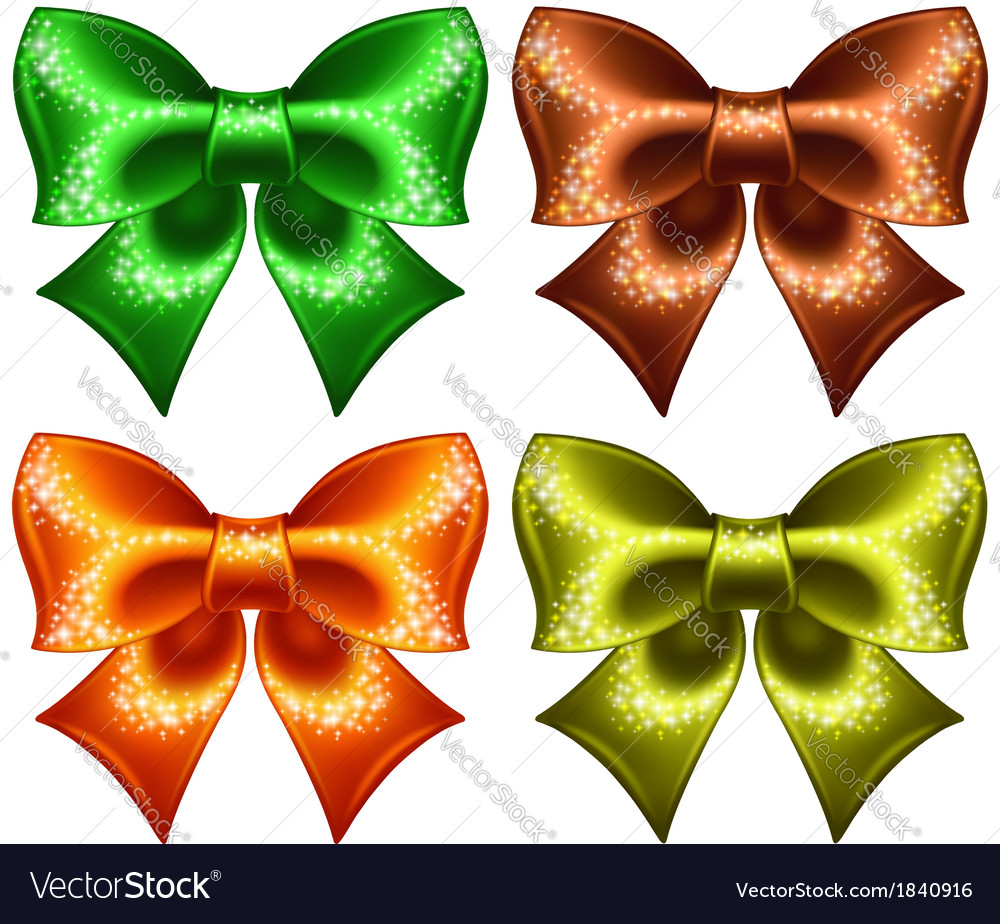 Holiday bows with glitter vector | Price: 1 Credit (USD $1)